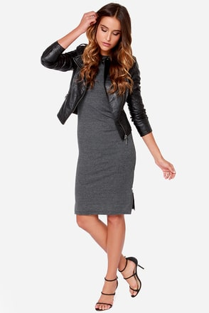Perfect Relation-Zip Short Sleeve Dark Grey Midi Dress