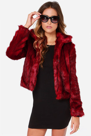 Rih-Run Red Faux Fur Jacket