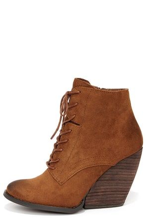 Very Volatile Arlington Tan Suede Leather Lace-Up Wedge Booties at Lulus.com!