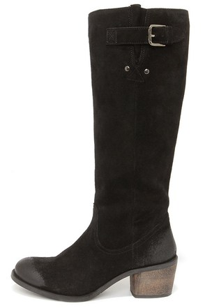 Coconuts Troy Black Suede Leather Riding Boots