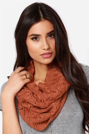 Roxy Cuddle Burnt Orange Knit Infinity Scarf