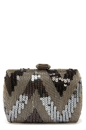 Chevron the Up and Up Black Sequin Clutch