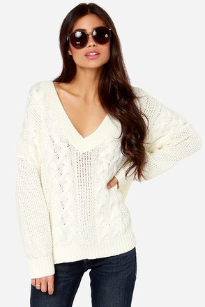 Irish You Were Here Cream Cable Knit Sweater