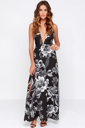 Keepsake More Than This Grey and Black Floral Print Maxi Dress