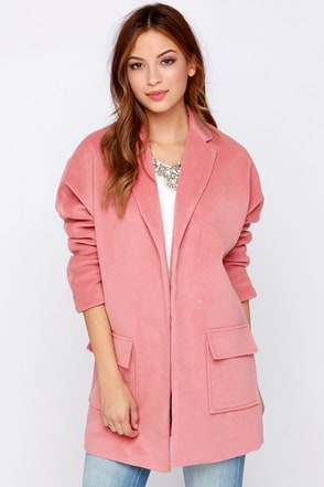 Jet Set to Paris Oversized Blush Pink Coat