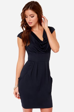 On the Boardwalk Navy Blue Dress