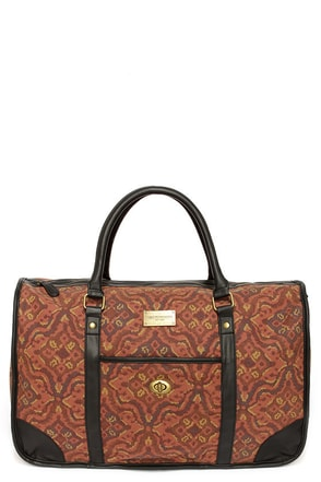 Obey Courson Brown Print Vegan Leather Weekender Bag