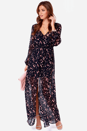 Volcom Let's Elope Navy Blue Floral Print Maxi Dress at Lulus.com!