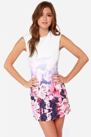 Finders Keepers White Lies Ivory Floral Print Dress