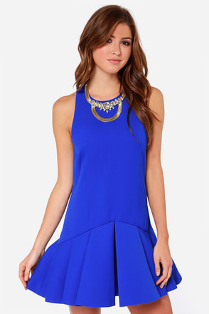 Cameo Why Ask Cobalt Blue Drop Waist Dress