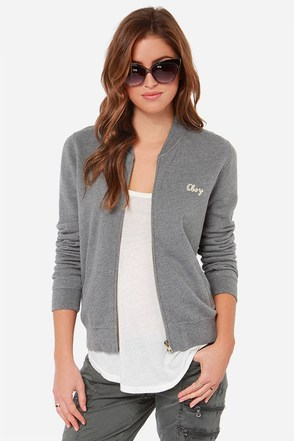 Obey Tompkins Grey Sweater Jacket at Lulus.com!