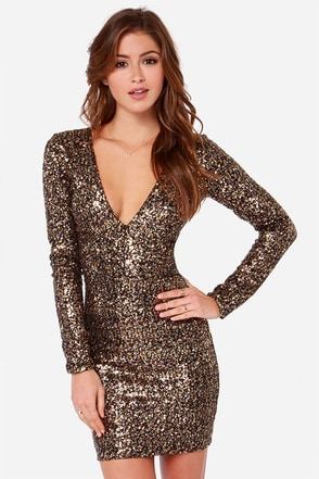 Dress the Population Bridget Long Sleeve Gold Sequin Dress