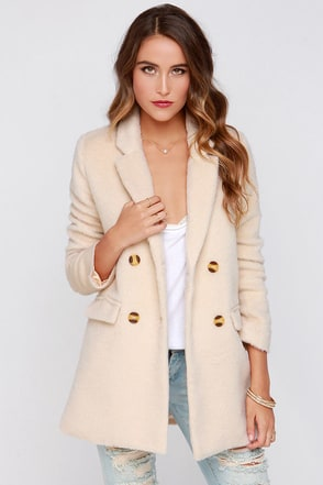 Penn Station Cream Faux Fur Coat