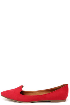 Loafer Achiever Red Suede Pointed Toe Loafers at Lulus.com!