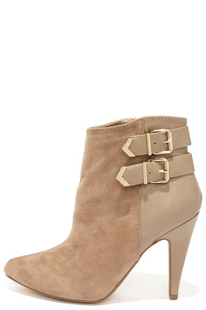 Pointed View Taupe Pointed Toe Booties