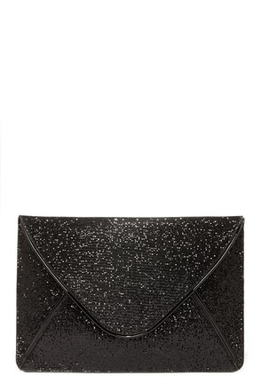 Secret Envelope-ment Black Glitter Clutch at Lulus.com!
