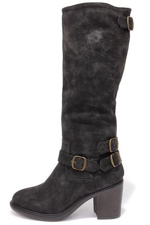 Double-Strut Burnished Black High Heel Boots
