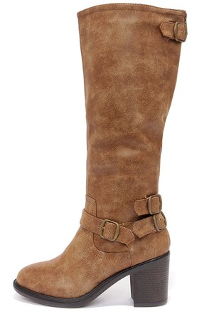 Double-Strut Burnished Chestnut Brown High Heel Boots