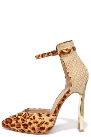 Walk the Fe-Line Tan Leopard Ankle Strap Heels