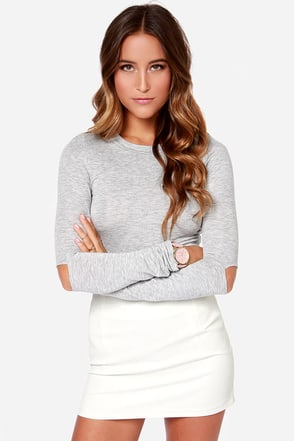 Slit Factor Grey Long Sleeve Crop Top