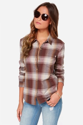 Obey Sylus Burgundy Plaid Long Sleeve Top