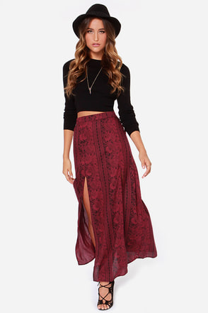 Billabong Never Look Back Wine Red Print Maxi Skirt