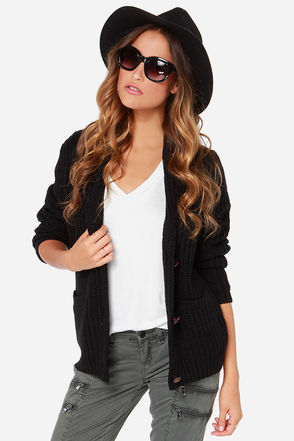 Obey Rune Black Knit Cardigan Sweater