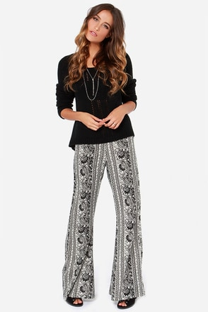 Billabong Night Sessions Black and White Print Pants