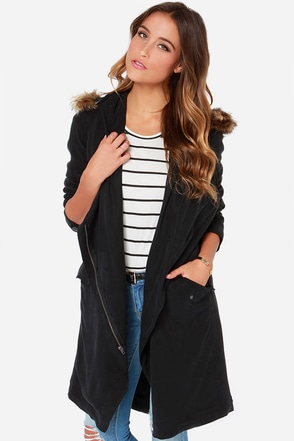 BB Dakota Daisy Black Hooded Coat