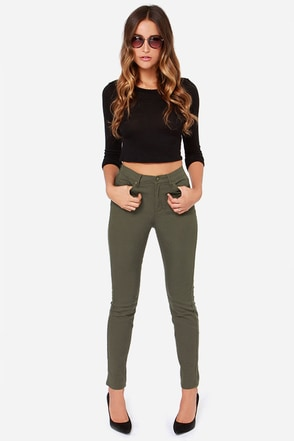 Obey Kershaw Army Green High-Waisted Skinny Jeans