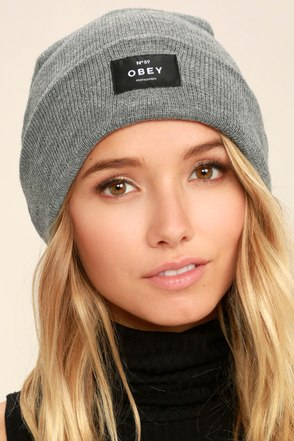 Obey Vernon Heather Grey Beanie