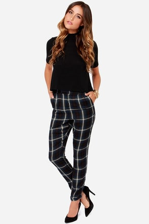 Obey Everdeen Pant Navy Blue Plaid Harem Pants