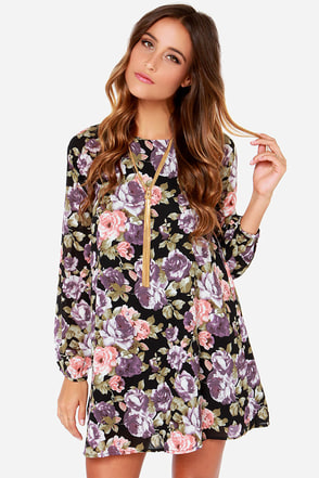 Lucca Couture Lovely In Bloom Black Floral Print Dress at Lulus.com!