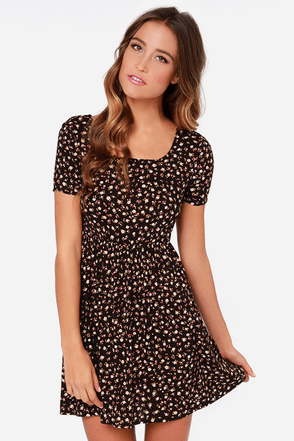 Billabong Bringin It Back Dark Brown Floral Print Dress
