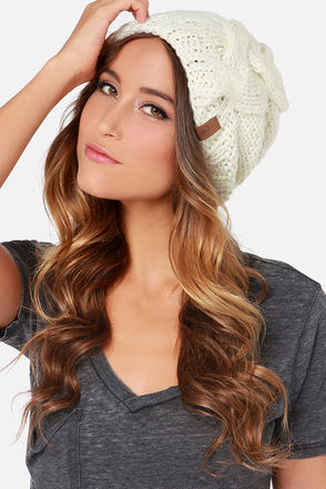 Volcom Silver Cream Knit Beanie at Lulus.com!