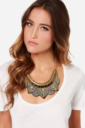 Zad Take Me to Your Beader Black and Gold Statement Necklace