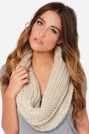 You're So Twisted Beige Knit Infinity Scarf