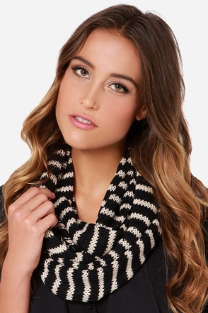 Above the Skyline Black and Tan Striped Infinity Scarf
