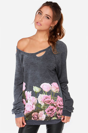 Chaser Floral Border Distressed Grey Floral Print Sweater at Lulus.com!