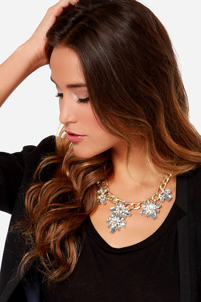 Hath No Fleur-y Clear Rhinestone Statement Necklace
