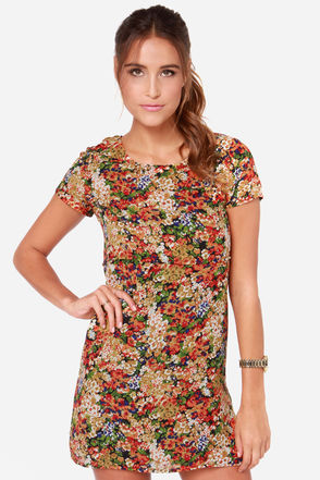 Lucca Couture Half Past Fleur Multi Floral Print Dress