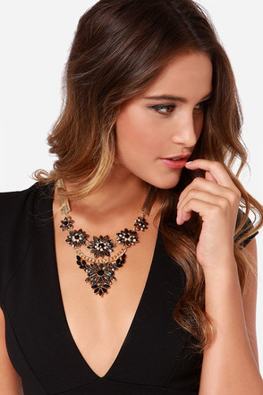 Lady of the Hour Grey Rhinestone Statement Necklace