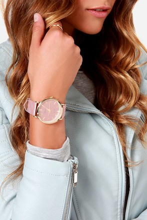 Once Upon a Time Blush Vegan Leather Watch at Lulus.com!