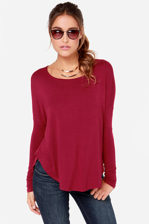 Takin' it Easy Berry Red Long Sleeve Top at Lulus.com!