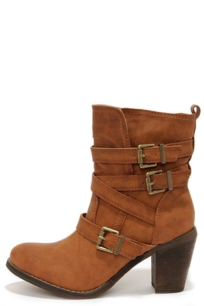 Groundbreakin' Cognac Brown Buckled Mid-Calf Boots at Lulus.com!