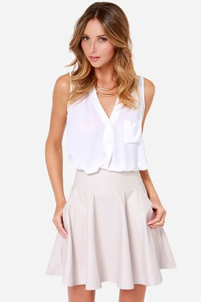 Impressive Effect Light Beige Vegan Leather Skirt at Lulus.com!