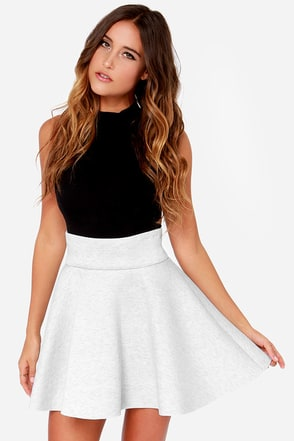 Hip-Ster Girl Light Grey Skirt at Lulus.com!