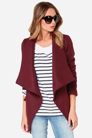 Lapel of My Eye Burgundy Coat at Lulus.com!