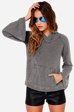 Chaser Shout It Out Washed Grey Hooded Sweater at Lulus.com!