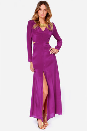 Line and Dot Norma Purple Silk Maxi Dress at Lulus.com!